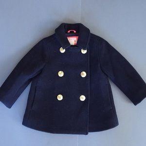 Crew Cuts kids navy blue pea coat wool dressy